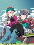 2girls afro beanie black_legwear blanket blue_eyes blue_hair blue_sky boots chair closed_mouth clouds coffee_pot cup folding_chair folding_table food grass hat highres holding holding_cup holding_food kagamihara_nadeshiko multiple_girls official_art outdoors parted_lips pink_hair plate portable_stove s'more scarf shima_rin sidelocks sitting sky smile standing tent violet_eyes winter_clothes yurucamp