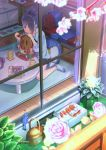 1girl abo_(kawatasyunnnosukesabu) bangs bird black_hair blue_footwear blue_shirt bluebird cherry_blossoms coaster commentary_request cup curtains cushion day flower food from_outside green_pants green_tea hair_bun hair_over_one_eye haniwa_(statue) highres holding holding_food mug nintendo_switch original pants pink_flower pink_shirt plant potted_plant rug shirt shorts sidelocks sitting slippers_removed smile snack socks stove table tea window wooden_floor