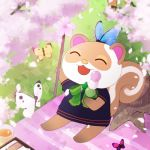 1girl animal_ears art-days-m_svrnl-rnlsnd bow bowtie bug butterfly cherry_blossoms closed_eyes dango doubutsu_no_mori flower food furry grass insect lowres monpe_(doubutsu_no_mori) open_mouth petals sitting solo squirrel_ears squirrel_tail tail wagashi