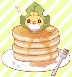 2027_(submarine2027) butter flower food fork gen_5_pokemon heart in_food looking_at_viewer no_humans pancake plate pokemon pokemon_(creature) sewaddle solo stack_of_pancakes striped striped_background syrup