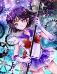 1girl abstract_background back_bow bishoujo_senshi_sailor_moon bow brooch brown_bow choker circlet closed_mouth cowboy_shot earrings elbow_gloves gears gloves holding holding_staff hoshikuzu_(milkyway792) jewelry looking_at_viewer magical_girl pleated_skirt purple_hair purple_neckwear purple_sailor_collar purple_skirt repost_notice sailor_collar sailor_saturn sailor_senshi_uniform short_hair signature skirt smile solo staff star star_choker tomoe_hotaru violet_eyes white_gloves