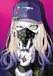 1girl badge baseball_cap blonde_hair button_badge chain choker clothes_writing collared_shirt cross ear_clip earrings eyelashes furrowed_eyebrows gradient gradient_background gradient_hair green_eyes green_nails gun_print hand_tattoo hat highres jewelry long_hair long_sleeves looking_at_viewer mask mouth_mask multicolored_hair multiple_rings nail_polish one_eye_closed original pale_skin pink_background print_headwear print_mask pullover puppeteer7777 purple_background purple_hair purple_headwear ring shirt solo spikes sweater two-tone_hair upper_body w