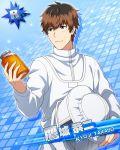 blush brown_eyes brown_hair character_name dress idolmaster idolmaster_side-m short_hair takajou_kyouji