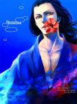 1boy artist_name black_hair blue_background collarbone eyeshadow flower izou_(one_piece) japanese_clothes kamuna8046z kimono long_hair looking_at_viewer makeup male_focus mouth_hold one_piece red_eyeshadow red_flower shade simple_background solo source_request upper_body yellow_eyes