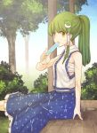 1girl blue_skirt collared_shirt detached_sleeves food frog_hair_ornament green_eyes green_hair hair_ornament hair_tubes japanese_clothes kochiya_sanae long_hair long_skirt looking_at_viewer miko nontraditional_miko popsicle sarashi shirt skirt sleeveless sleeveless_shirt snake_hair_ornament touhou urin veranda white_legwear white_shirt