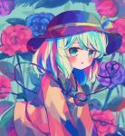 1girl bangs blue_flower blush buttons child collar collared_shirt colorful commentary_request crystal eyeball eyebrows_visible_through_hair floral_background flower frilled_collar frilled_shirt_collar frills from_side green_eyes green_skirt hat hat_ribbon headwear heart heart_of_string highlights kneeling komeiji_koishi leaf looking_at_viewer multicolored multicolored_clothes multicolored_hair open_mouth puroshimin purple_flower red_flower ribbon rose shirt short_hair skirt string third_eye touhou upper_body yellow_shirt