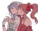 2girls alternate_hairstyle bang_dream! blue_flower blue_rose bow brown_eyes brown_hair closed_eyes commentary_request cross-laced_clothes detached_collar earrings elbow_gloves flower gloves hair_bow hair_flower hair_ornament hair_up hairband hand_on_another's_shoulder holding_hands imai_lisa jewelry korean_commentary lace-trimmed_hairband looking_at_another minato_yukina multiple_girls necklace orange_flower orange_rose pearl_necklace red_flower red_gloves red_rose res2shuu rose short_sleeves side_ponytail silver_hair simple_background single_elbow_glove single_sidelock smile striped striped_bow u_u upper_body white_background white_flower white_gloves white_hairband white_rose yuri