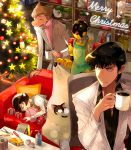 1girl 2boys a106 a107 apron atom:_the_beginning big_nose black_eyes black_hair blanket brown_hair cat chair christmas_tree closed_eyes coffee couch cup f14 formal gift glasses hat highres indoors iyo_(kurumiwarin) merry_christmas mug multiple_boys ochanomizu_hiroshi ochanomizu_ran on_couch ornament pillow plant pliers potted_plant screwdriver shelf short_hair sleeping standing star suit tenma_umatarou