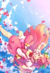 1girl :d clouds cure_grace earrings flower gloves hair_flower hair_ornament hanadera_nodoka healin'_good_precure heart heart_hair_ornament highres jacket jewelry layered_skirt long_hair looking_at_viewer magical_girl open_mouth petals pink_eyes pink_hair precure red_flower red_rose rose shoes shuu_(mniarnoakou) skirt sky smile solo upside-down white_gloves white_jacket