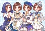 4girls :3 :o apron bang_dream! beret blue_background blue_skirt blush bow bowtie braid brown_eyes brown_hair chino_machiko commentary_request cup double-breasted dress frilled_apron frilled_hat frilled_shirt_collar frilled_skirt frills hair_ornament hands_clasped hands_together hat hazawa_tsugumi jacket lace long_sleeves multiple_girls multiple_persona nun own_hands_together puffy_short_sleeves puffy_sleeves see-through see-through_sleeves short_sleeves skirt sparkle starry_sky_print teacup teapot top_hat vest wrist_cuffs