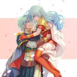 1boy 1girl 2900cm aqua_hair artist_name blue_eyes boots brother_and_sister brown_gloves cape carrying closed_mouth eirika_(fire_emblem) ephraim_(fire_emblem) fingerless_gloves fire_emblem fire_emblem:_the_sacred_stones from_side gloves high_heel_boots high_heels highres long_hair open_mouth petals red_gloves short_hair short_sleeves siblings skirt white_cape