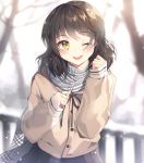 1girl ;d bangs black_hair black_ribbon black_skirt blurry blurry_background blush brown_jacket commentary_request depth_of_field eyebrows_visible_through_hair grey_scarf highres jacket long_hair long_sleeves looking_at_viewer one_eye_closed open_mouth original outdoors plaid plaid_scarf pleated_skirt railing ribbon scarf school_uniform sigi skirt sleeves_past_wrists smile snow tree winter yellow_eyes