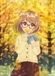 1girl arms_up artist_name autumn autumn_leaves bangs blurry blurry_background blurry_foreground book brown_eyes commentary_request covering_mouth cowboy_shot day depth_of_field eyebrows_visible_through_hair falling_leaves ginkgo_leaf glasses head_tilt highres holding holding_book holding_leaf leaf light_brown_hair long_sleeves looking_at_viewer open_book original outdoors plaid plaid_skirt pleated_skirt red_skirt shiny shiny_hair shirt short_hair skirt solo soramame_tomu standing swept_bangs tortoiseshell-framed_eyewear tree twitter_username white_shirt yellow_cardigan
