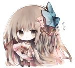 1girl :o bangs big_hair black_footwear blue_bow blush bow braid breasts brown_hair character_request cottontailtokki eyebrows_visible_through_hair flower full_body gloves grey_eyes grey_gloves hair_between_eyes hair_bow hair_flower hair_ornament kneebar long_hair long_sleeves looking_at_viewer mismatched_sleeves parted_lips pink_flower pink_skirt puffy_long_sleeves puffy_sleeves shadowverse shirt simple_background skirt small_breasts solo standing very_long_hair white_background white_shirt wide_sleeves