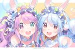 2girls :d absurdres animal_ear_fluff animal_ears bangs bare_shoulders blue_hair blush braid brown_eyes bubble candy_hair_ornament candy_wrapper commentary_request easter easter_egg egg eyebrows_visible_through_hair food_themed_hair_ornament green_eyes hair_between_eyes hair_ornament hair_rings heterochromia highres himemori_luna hololive huge_filesize long_hair multiple_girls open_mouth purple_hair rabbit_ears round_teeth short_eyebrows smile strapless teeth thick_eyebrows twin_braids upper_body upper_teeth usada_pekora violet_eyes virtual_youtuber zuho_(vega)