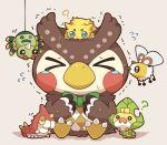 >_< 2027_(submarine2027) ? bird blush bow bowtie bug crossover curious cutiefly doubutsu_no_mori flying_sweatdrops full_body fuuta_(doubutsu_no_mori) gen_1_pokemon gen_2_pokemon gen_3_pokemon gen_5_pokemon gen_7_pokemon green_bow green_neckwear joltik no_humans nuzzle on_head pokemon pokemon_(creature) scared sewaddle simple_background sitting spinarak string surrounded tears trembling wurmple