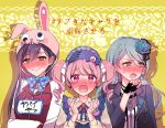 3girls animal_hat aqua_hair bang_dream! bangs black_gloves black_hair black_jacket blue_headwear blue_nails blue_neckwear blush bow bowtie braid brooch bunny_hat chain_necklace chino_machiko clenched_hand earrings embarrassed eyeball_hair_ornament fingerless_gloves flower frilled_hat frills full-face_blush gloves green_eyes hair_flower hair_ornament hair_ribbon hanazono_tae hands_up hashtag hat hat_bow hikawa_sayo jacket jewelry leather leather_jacket long_sleeves maruyama_aya multiple_girls name_tag neck_ribbon open_mouth pink_eyes pink_hair polka_dot_neckwear raglan_sleeves ribbon side_braid smile sweatdrop track_jacket translation_request upper_body white_ribbon yellow_background