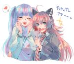2girls ^_^ ahoge arm_around_waist bang_dream! bangs black_jacket blue_jacket blush bracelet cat_ear_headphones chu2_(bang_dream!) closed_eyes cup drinking_glass fang food goblet hair_bobbles hair_ornament headphones heart heart_in_mouth holding holding_cup holding_hair jacket jerky jewelry long_hair long_sleeves looking_at_viewer multiple_girls necktie pareo_(bang_dream!) print_shirt red_neckwear redhead shirt sidelocks spoken_heart striped striped_neckwear tadano_kagekichi twintails upper_body white_background white_shirt