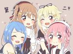 4girls ;d ^_^ bangs bare_shoulders beret black_headwear black_ribbon black_serafuku blonde_hair blue_hair blush brown_hair closed_eyes eyebrows_visible_through_hair flower gloves gradient_hair hair_flaps hair_flower hair_ornament hair_ribbon hairclip harusame_(kantai_collection) hat kantai_collection long_hair looking_at_viewer multicolored_hair multiple_girls murasame_(kantai_collection) one_eye_closed open_mouth pink_eyes pink_hair purple_background red_eyes redhead remodel_(kantai_collection) ren_kun ribbon samidare_(kantai_collection) school_uniform serafuku shirt short_sleeves side_ponytail simple_background sleeveless sleeveless_shirt smile swept_bangs two_side_up v white_gloves white_headwear yuudachi_(kantai_collection)