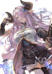1girl asymmetrical_gloves bare_shoulders belt black_dress black_gloves black_legwear blue_eyes braid breasts bug butterfly draph dress elbow_gloves fingerless_gloves gloves granblue_fantasy hair_ornament hair_over_one_eye highres horns insect katana kiriyama large_breasts lavender_hair long_hair looking_at_viewer low_tied_hair narmaya_(granblue_fantasy) parted_lips pointy_ears short_dress simple_background single_braid single_thighhigh sleeveless solo sword thigh-highs thigh_strap vest weapon white_background white_vest