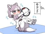 1girl :i animal_ears blue_eyes blush boots coat commentary_request dog_(mixed_breed)_(kemono_friends) dog_ears dog_girl dog_tail elbow_gloves exercise extra_ears eyebrows_visible_through_hair fur_trim gloves grey_coat grey_hair grey_skirt heterochromia kemono_friends multicolored_hair pantyhose pleated_skirt ransusan ring_fit_adventure short_hair short_sleeves skirt solo sweatdrop tail translation_request two-tone_coat two-tone_hair white_coat white_gloves white_hair white_legwear yellow_eyes yoga_mat