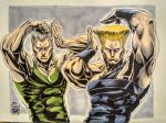 2boys abs armpits artist_logo bare_arms black_shirt blonde_hair clenched_hands closed_mouth crossover dated dog_tags earrings fingernails green_shirt grey_background grey_hair guile hands_up highres jean_pierre_polnareff jewelry jojo_no_kimyou_na_bouken jojo_pose looking_at_viewer male_focus manly marker_(medium) maya_panda multiple_boys muscle photo pose sanpaku shirt signature sleeveless sleeveless_shirt stardust_crusaders street_fighter street_fighter_ii_(series) traditional_media wristband