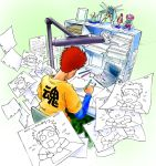 1boy animation_paper_(object) animator annkoku_daimaou blue_shirt blush bulletin_board cargo_pants clock closed_eyes desk desk_lamp drawing drawing_equipment dvd_player envelope eraser figure from_above from_behind green_background green_legwear highres holding holding_pencil lamp manila_envelope mechanical_pencil original pants paper_stack pencil picture_frame pushpin redhead ruler shelf shirt solo spiky_hair sweatdrop t-shirt tape tearing_up translated undershirt yellow_shirt