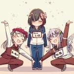 3girls :d ayasaka bang_dream! beige_background black_hair blonde_hair blue_track_suit blush bow clenched_hands commentary_request fairy_wings flower grey_hair hair_bow hair_flower hair_ornament head_wreath jacket long_hair minato_yukina mitake_ran multicolored_hair multiple_girls name_tag open_mouth pants pink_bow pose raglan_sleeves red_flower red_track_suit redhead shirasagi_chisato shoes short_hair smile squatting standing star streaked_hair track_jacket track_pants u_u white_footwear wings