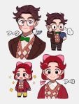+_+ ... 1boy 1girl :d black_eyes blush_stickers bow bowtie brother_and_sister brown_hair character_name chibi commentary_request doubutsu_no_mori face fuuko_(doubutsu_no_mori) fuuta_(doubutsu_no_mori) glasses gold-framed_eyewear green_neckwear grey_background hair_bow highres kisaragi_yuu_(fallen_sky) long_sleeves open_mouth pink_bow redhead short_hair siblings signature simple_background smile spoken_ellipsis suit_jacket yellow_legwear