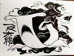 character_name greyscale hammerhead_shark highres ink_(medium) inktober monochrome original rariatto_(ganguri) traditional_media twitter_username youkai