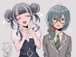 3girls alternate_hairstyle bang_dream! bangs belt black-framed_eyewear black_dress black_hair blue_hair blunt_bangs cardigan closed_eyes crossed_arms double_bun dress glasses green_eyes green_neckwear grey_background grey_hair grey_jacket hair_over_shoulder haneoka_school_uniform heart index_fingers_raised jacket lock_(bang_dream!) long_hair long_sleeves looking_at_viewer low-tied_long_hair masking_(bang_dream!) multicolored_hair multiple_girls necktie open_mouth pareo_(bang_dream!) pinafore_dress red_scrunchie romaji_text school_uniform scrunchie shiontaso short_sleeves sidelocks simple_background striped striped_neckwear sweatdrop two-tone_hair upper_body white_dress