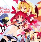 !? 2girls @_@ animal_ears ass_visible_through_thighs belt bikini_top blonde_hair blush_stickers boots bow brushing_teeth choker closed_eyes cup demon_girl demon_tail demon_wings disgaea disgaea_d2 double_v earrings etna flat_chest flonne flonne_(fallen_angel) giving_up_the_ghost hair_down halo head_bump heart heart_earrings highres jewelry knife knife_in_head long_hair makeup_brush medium_hair miyakawa106 mug multiple_girls navel nightgown o-ring o-ring_choker open_mouth pointy_ears prinny rabbit_ears red_eyes redhead ribs seiza short_shorts shorts sidelocks sitting skull_earrings smile sparkling_eyes surprised sweat tail thigh-highs thigh_boots toothbrush translated twintails v video_camera white_belt wings zettai_ryouiki