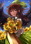 1girl arm_cannon black_wings blue_sky bow brown_hair day denpajin-ryuushi dress feathered_wings floating_hair flower green_bow green_dress hair_bow highres holding holding_flower long_hair looking_at_viewer outdoors petals red_eyes reiuji_utsuho shirt sky smile solo summer sunflower touhou weapon white_shirt wind wings