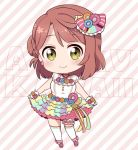 1girl ankle_ribbon bangs blush bow brown_hair chibi diagonal_stripes earrings flower frilled_skirt frills full_body hair_bow hair_flower hair_ornament holding_skirt izumi_kirifu jewelry looking_at_viewer love_live! love_live!_school_idol_festival_all_stars medium_hair multicolored multicolored_clothes multicolored_skirt ribbon shirt side_bun skirt smile solo striped striped_background striped_bow thigh-highs thigh_strap uehara_ayumu white_legwear white_shirt wrist_cuffs yellow_eyes