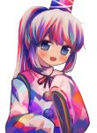 1girl :d alternate_color alternate_hair_color bangs black_neckwear black_ribbon blue_eyes blue_headwear blush bow child commentary_request cross eyebrows_visible_through_hair hat headwear long_sleeves looking_at_viewer mononobe_no_futo multicolored multicolored_clothes multicolored_hair neckwear open_mouth pom_pom_(clothes) puroshimin red_ribbon ribbon ribbon-trimmed_sleeves ribbon_trim shirt simple_background smile solo tate_eboshi touhou upper_body white_background wide_sleeves