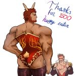 2boys abs animal_ears ass bara bare_shoulders beard blush brown_hair bunnysuit chest easter epaulettes facial_hair fate/grand_order fate_(series) loboke looking_at_viewer looking_back male_focus multiple_boys muscle napoleon_bonaparte_(fate/grand_order) open_clothes open_mouth pectorals rabbit_ears red_eyes rider_(fate/zero) scar sideburns simple_background smile thighs undressing upper_body