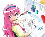1girl ahoge animation_paper_(object) animator annkoku_daimaou bangs blue_hairband bread breasts calendar_(object) chair chibi commentary crumbs cup desk drawing drawing_equipment eating eraser feather_duster food from_above from_behind gloves hairband highres holding holding_pencil light_box long_hair looking_at_viewer looking_back looking_up louise_francoise_le_blanc_de_la_valliere mechanical_pencil melon_bread office office_chair peg_bar pencil pencil_case pencil_sharpener pink_hair red_eyes shelf shirt simple_background single_glove sitting small_breasts smile solo upper_body white_background white_gloves yellow_shirt zero_no_tsukaima