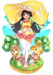 3girls absurdres alternate_costume arm_up black_hair blush character_request doubutsu_no_mori easter easter_egg egg eyebrows_visible_through_hair flag full_body green_eyes hair_ornament hairclip happy_easter highres holding holding_flag kuma_daigorou long_hair long_sleeves looking_at_viewer multiple_girls nijisanji open_mouth puffy_long_sleeves puffy_sleeves shizue_(doubutsu_no_mori) smile thigh-highs translation_request tree tsukino_mito virtual_youtuber white_legwear