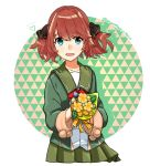 1girl bangs black_ribbon blue_eyes blush bouquet brown_hair candy eyebrows_visible_through_hair flower food fur-trimmed_sleeves fur_trim green_jacket green_sailor_collar green_skirt hachijou_(kantai_collection) hair_ribbon heart jacket kantai_collection lollipop long_sleeves open_mouth pleated_skirt pom_pom_(clothes) red_neckwear ribbon sagamiso sailor_collar school_uniform simple_background skirt solo twitter_username yellow_flower