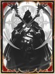 1boy artist_request belt card chain cloak death_(entity) dual_wielding glowing glowing_eye gold_trim grim_reaper hidden_face holding hood hood_up hooded_cloak monochrome official_art scythe shadowverse skull solo