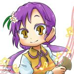 1girl bachi chamaji eyebrows_visible_through_hair flower hair_flower hair_ornament hand_up long_hair long_sleeves looking_at_viewer lowres musical_note neck_ribbon plectrum purple_hair ribbon signature simple_background smile solo touhou tsukumo_benben twintails upper_body white_background yellow_eyes