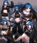 1girl \m/ abs absurdres armpit_peek bandeau bare_shoulders belt black_gloves black_jacket black_pants black_sclera black_shorts blue_hair breasts crop_top cutoffs elbow_gloves fingerless_gloves gas_mask gloves gradient gradient_background highleg highres jacket katana large_breasts long_hair long_sleeves looking_at_viewer midriff multiple_views navel neonbeat open_clothes open_jacket original pants parted_lips ribbed_shirt sheath sheathed shirt shoes short_shorts shorts shoulder_tattoo side_cutout sitting skindentation sleeveless sleeveless_shirt sleeveless_turtleneck standing stomach sword tattoo thighs turtleneck weapon yellow_eyes