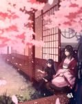 2girls bangs black_dress black_hair black_legwear blue_eyes cherry_blossoms dress eyebrows_visible_through_hair gogatsu_fukuin highres japanese_clothes kara_no_kyoukai kimono long_hair long_sleeves mother_and_daughter multiple_girls no_shoes open_mouth outdoors parted_bangs pillow pink_kimono ryougi_mana ryougi_shiki short_sleeves sitting smile thigh-highs wide_sleeves