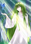 1boy arm_up bird blurry blurry_background bosutonii commentary_request fate/grand_order fate_(series) feet_out_of_frame forest grass green_hair head_tilt highres kingu_(fate) light_particles light_rays long_hair long_sleeves looking_to_the_side nature parted_lips sidelocks solo standing sunbeam sunlight very_long_hair violet_eyes white_robe wide_sleeves