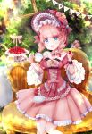 1girl :d absurdres blue_butterfly blue_eyes bow brown_bow chair cup dress flower food frills fruit glint hat hat_bow hat_flower highres open_mouth outdoors picture_frame pink_bow pink_dress pink_hair ronsyoro_(twitter) short_hair smile strawberry string_of_flags tea_party teacup tiered_tray too_many too_many_frills