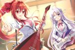 2girls :d ahoge blush bow breasts eyepatch flower guitar hair_bow hair_flower hair_intakes hair_ornament hairclip heroic_songs! index_finger_raised indoors instrument large_breasts long_hair multiple_girls music open_mouth playing_instrument ponytail purple_hair red_bow red_eyes redhead skirt smile standing thigh-highs tougo very_long_hair violet_eyes window