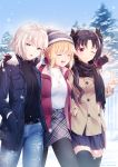 3girls ahoge bangs black_hair blonde_hair breasts closed_eyes contemporary fate/extra fate/grand_order fate_(series) highres ishtar_(fate)_(all) ishtar_(fate/grand_order) jacket jeanne_d'arc_(alter)_(fate) jeanne_d'arc_(fate)_(all) large_breasts long_hair multiple_girls nero_claudius_(fate) nero_claudius_(fate)_(all) parted_bangs red_eyes rimuu short_hair silver_hair snow two_side_up yellow_eyes