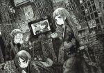1boy 2girls absurdres bowl calendar_(object) cigarette closed_eyes directional_arrow earphones earphones facing_another greyscale highres indoors long_hair looking_at_viewer looking_away monochrome multiple_girls original scenery short_hair smoking television usio_ueda