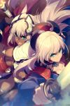 2girls animal_ears bangs black_bikini_bottom black_gloves blue_eyes blue_kimono breasts caenis_(fate) cape cis05 dark_skin earrings elbow_gloves fate/grand_order fate_(series) gloves hair_intakes hair_ornament hairband headpiece japanese_clothes jewelry katana kimono large_breasts long_hair magatama miyamoto_musashi_(fate/grand_order) multiple_girls open_mouth pauldrons pink_hair polearm ponytail red_cape spear swept_bangs sword tattoo very_long_hair waist_cape weapon white_bikini_top white_hair wide_sleeves