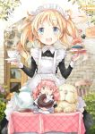 2girls :d animal apron artist_request bangs black_dress blonde_hair blue_eyes blush boots brown_eyes chair chibi collared_dress cup day dog door doughnut dress eyebrows_visible_through_hair food frilled_apron frills highres holding holding_saucer juliet_sleeves long_hair long_sleeves looking_at_viewer maid maid_apron maid_headdress minigirl multiple_girls open_mouth original outdoors pink_hair plaid puffy_sleeves saucer signature sitting smile standing star steam table tablecloth teacup teapot twintails upper_teeth